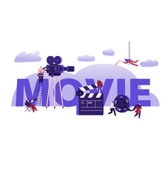 movie making process concept operator using vector image