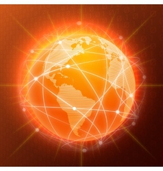 Network globe concept orange vector image