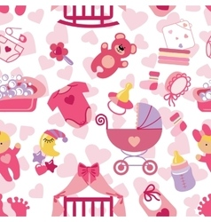 Newborn Baby girl seamless pattern vector image