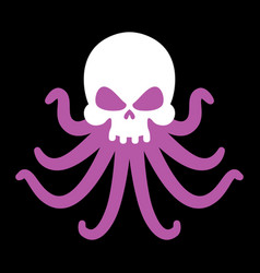 octopus and skull poulpe and head of skeleton vector image