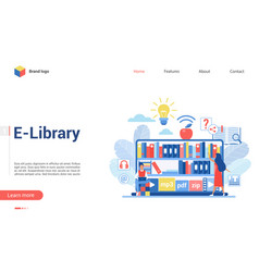 people in virtual digital library landing page vector image