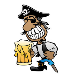 pirate cartoon character with peg leg vector image