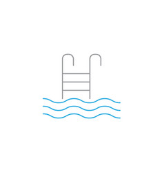 Pool with ladder solid icon swimming vector