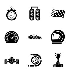 Rally icons set simple style vector