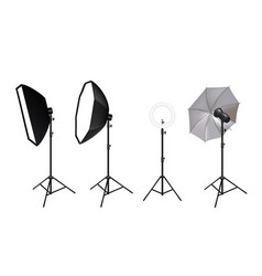Realistic spotlights photo video accessories vector