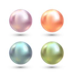 realistic varicoloured pearls set precious vector image