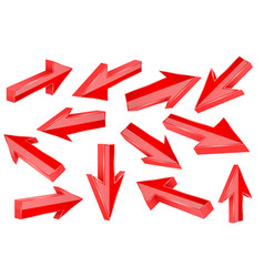 red 3d arrows set shiny straight signs vector image