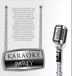 retro vintage microphone karaoke party background vector image