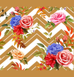 rose flower floral seamless pattern vector image
