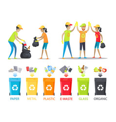 Rubbish collecting and allocation banner vector