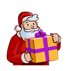 santa claus with big gift in hands christmas vector image