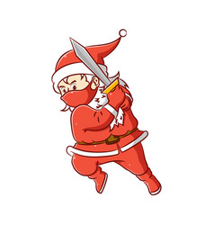 Santa clause is holding big sword and he vector