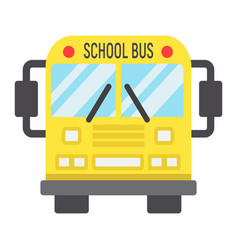 School bus flat icon transport and vehicle vector