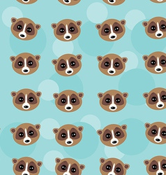 Seamless pattern lemur muzzle on blue background vector image