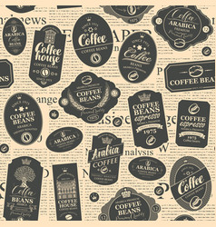 Seamless pattern with black coffee labels vector