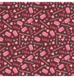 Seamless pattern with tasty macaroons hearts and vector image