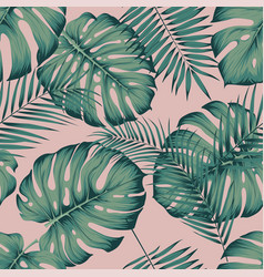 seamless tropical pattern with leaves monstera vector image