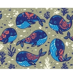 Seamless whale pattern with tribal ornament vector image