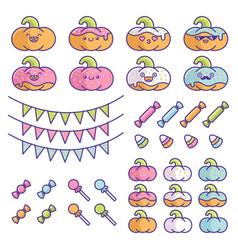 Set birthday party pumpkins element designs vector
