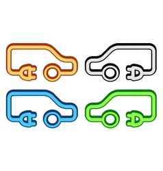 Set colorful electrical vehicle icon vector