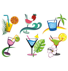 set of alcoholic drinks vector image