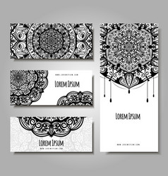 set of business cards with ethnic ornament vector image