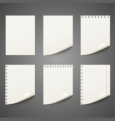 set of different notepad sheet vector image