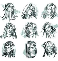 Set of monochrome art portraits of females drawn vector image