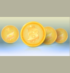 several coins of virtual currency bitcoin with vector image