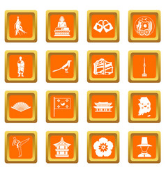 South korea icons set orange vector