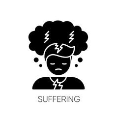 Suffering black glyph icon vector