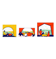 Tent view concept tourists characters family vector