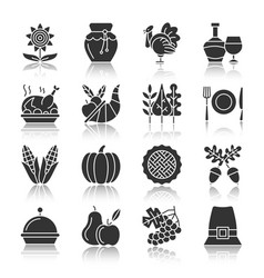 thanksgiving day silhouette icons with reflection vector image