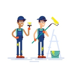 Two house painters holding brush and roller flat vector