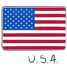 USA flag doodle vector image