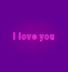 valentines day neon inscription i love you vector image