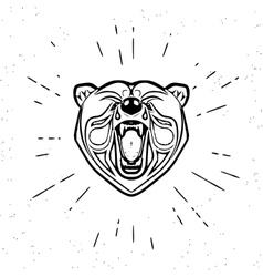 Vintage screaming bear vector image