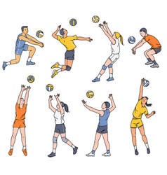 volleyball players - men and women set sketch vector image