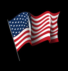 waving american flag isolated on black vector image