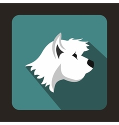 White terrier dog icon flat style vector image