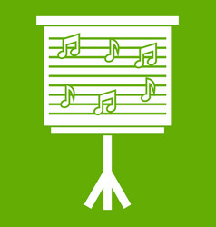 whiteboard with music notes icon green vector image