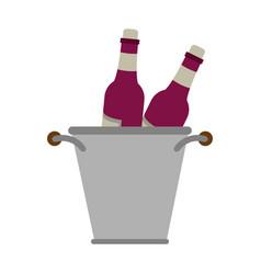 wine bottles in ice bucket vector image vector image