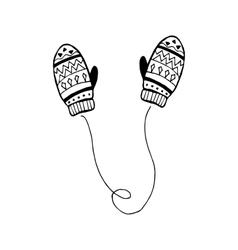 winter mittens in children s vector image