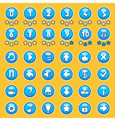 Aqua game buttons set vector image vector image