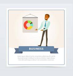 businessman making presentation and explaining vector image
