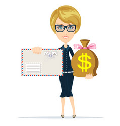 envelope and money bag vector image vector image