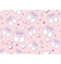 festive muted color pattern with white gift box vector image
