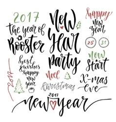 Happy New Year calligraphic set vector image