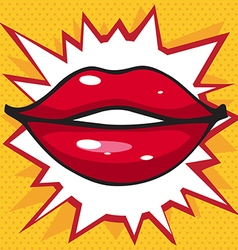 beautiful smile lip gloss on a bright yellow vector image