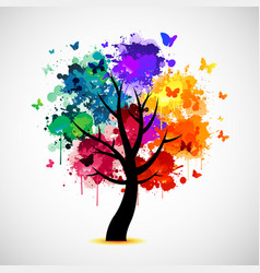 colorful tree background with paint splat and vector image vector image